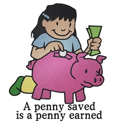 A Penny Earned embroidery design