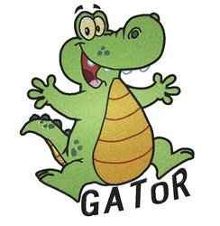 Jumping Happy Gator embroidery design