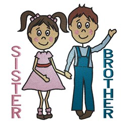 Brother & Sister embroidery design