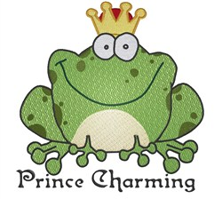 Frog Prince Charming embroidery design