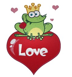 Frog Prince Love embroidery design