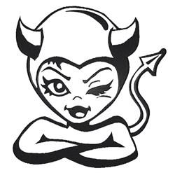 Girl Devil Outline embroidery design