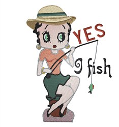 Betty Boop Fishing embroidery design