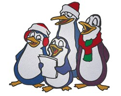 Penguin Carolers embroidery design