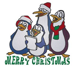 Penguin Carolers Christmas embroidery design