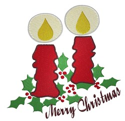 Merry Christmas Candles embroidery design
