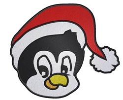 Penguin Santa Head embroidery design