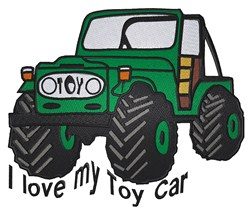 I Love My Toy Car embroidery design