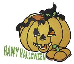 Halloween Pumpkin Cat embroidery design