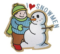 I Love Snowmen embroidery design