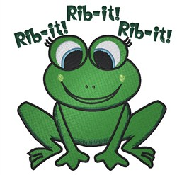 Rib-it Frog embroidery design