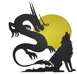Dragon and Wolf embroidery design