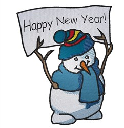New Year Snowman embroidery design