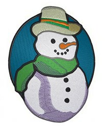 Snowman Oval embroidery design
