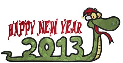 New Year Snake embroidery design