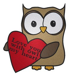 Owl Heart embroidery design