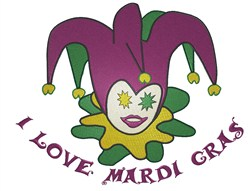 I Love Mardi Gras embroidery design