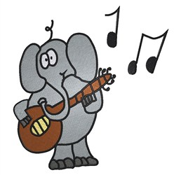 Musical Elephant embroidery design