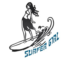 Surfer Girl embroidery design