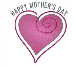 Happy Mothers Day Heart embroidery design