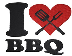 I love BBQ with Heart embroidery design