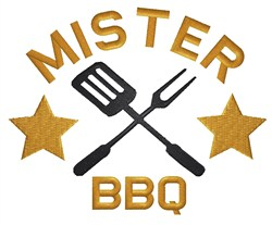 Mister BBQ embroidery design