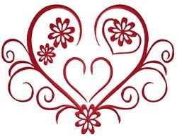 Flower Heart Swirl embroidery design