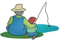 Grandpa & Boy Fishing embroidery design