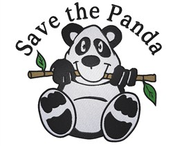 Save the Panda embroidery design