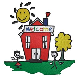 Schoolhouse with Kids embroidery design