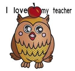 Owl Love Teacher embroidery design