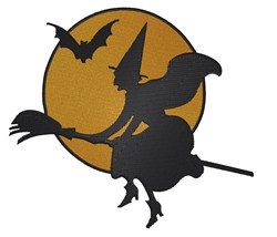 Witch & Bat embroidery design