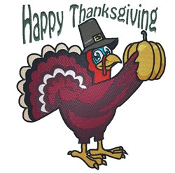 Happy Thanksgiving Turkey embroidery design