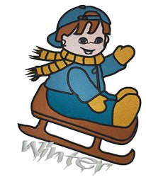 Winter Sled Boy embroidery design