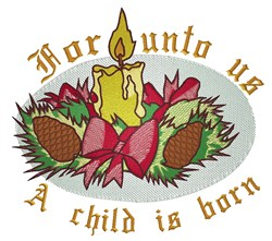 Unto Us Candle embroidery design