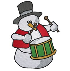 Drumming Snowman embroidery design