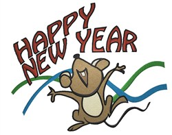 Happy New Year Mouse embroidery design