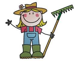 Girl Gardener embroidery design