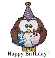 Happy Birthday Owl embroidery design
