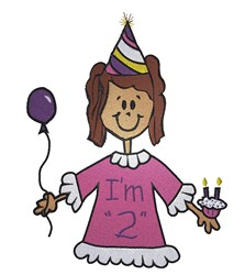 Im 2 Birthday Girl embroidery design