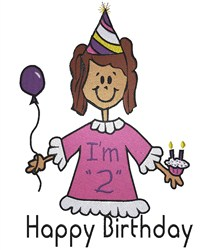 Happy Birthday Girl embroidery design
