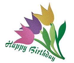 Birthday Tulips embroidery design