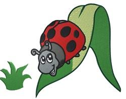 Ladybug On Leaf embroidery design