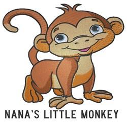 Cute smiling monkey Nanas embroidery design