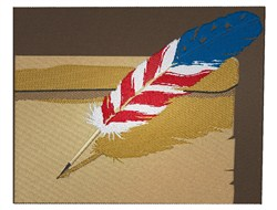 Red White & Blue Feather embroidery design