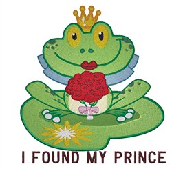 Frog Found Prince embroidery design