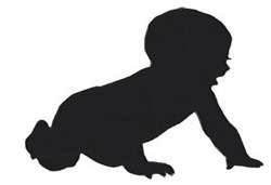 Crawling Baby Silhouette embroidery design