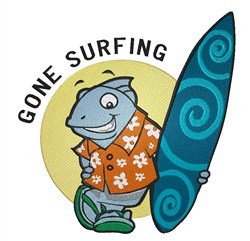 Gone Surfing Shark embroidery design