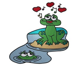 Frogs in Love embroidery design