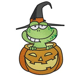 Frog in Pumpkin embroidery design